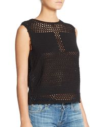 Generation Love | Black Cotton Crochet Sleeveless Top | Lyst