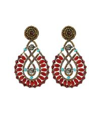 Ziio | Red Oval Multi-Bead Drop Clip Earrings | Lyst