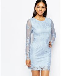 Missguided - Blue Lace Long Sleeve Bodycon Dress Powder - Lyst