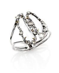 Alexis Bittar | Metallic Lucite & Crystal Cluster Open Cuff Bracelet | Lyst