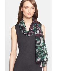 St. John - Multicolor Floral Print Silk Georgette Scarf - Burgundy - Lyst