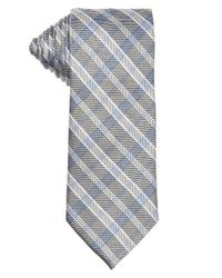 Saint Laurent - Metallic Silver And Blue Checkered Silk Tie for Men - Lyst