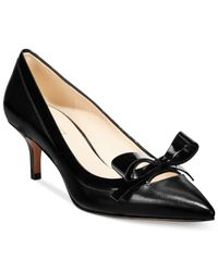 Nine West | Black Xenos Bow Kitten Heel Pumps | Lyst
