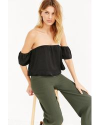 Lucca Couture | Black Silky Off-the-shoulder Blouse | Lyst