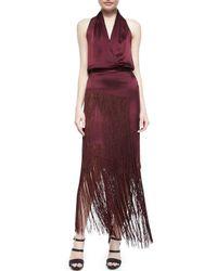 Tamara Mellon | Purple Layered Fringe Silk Skirt | Lyst