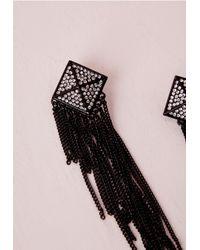 Missguided - Earrings Tassel Chain Black - Lyst