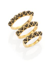 Eddie Borgo | Metallic PavÉ Crystal Pyramid Band Ring Set | Lyst
