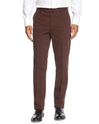 Incotex | Red 'benn' Flat Front Trousers for Men | Lyst