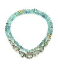 Lena Skadegard | Blue Onda Green Amethyst, Aquamarine & 18k Yellow Gold Long Pebble Necklace | Lyst