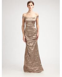 Nicole Miller | Off -the-shoulder Metallic Gown | Lyst