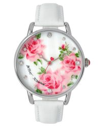 Betsey Johnson - White Floral Leather Strap Watch - Lyst