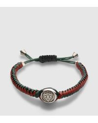 Gucci | Brown Woven Leather Bracelet With Crest Tag for Men | Lyst
