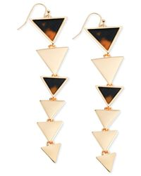 Guess | Metallic Gold-tone Faux Tortoise Graduated Triangle Drop Earrings | Lyst