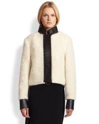 Acne Studios - White Leathertrimmed Lamb Fur Jacket - Lyst