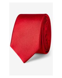 Express | Red Tall Skinny Solid Silk Tie for Men | Lyst