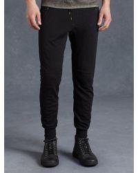 John Varvatos | Black Cotton Knit Biker Pant for Men | Lyst