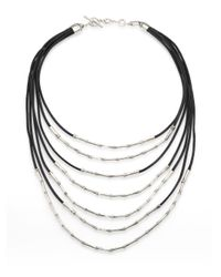 John Hardy | Metallic Bamboo Sterling Silver & Black Cord Multi-strand Necklace | Lyst