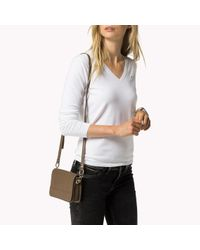 Tommy Hilfiger | Brown Pebbled Leather Crossover | Lyst