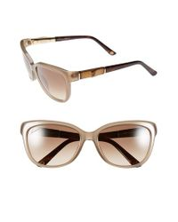 Gucci | Natural 55mm Bamboo Temple Sunglasses | Lyst