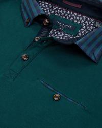 Ted Baker | Blue Komma Checked Collar Polo Shirt for Men | Lyst