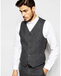 ASOS   Gray Slim Waistcoat In 100% Wool for Men   Lyst