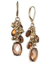 Jones New York | Metallic Gold-Tone Light Topaz Bead Cluster Drop Earrings | Lyst