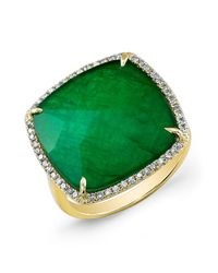 Anne Sisteron | 14kt Yellow Gold Green Agate Diamond Triplet Cushion Cut Cocktail Ring | Lyst
