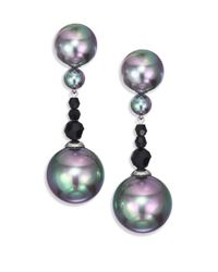 Majorica | Gray 12mm-14mm Grey Round Pearl, Hematite & Sterling Silver Drop Earrings | Lyst