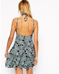 ASOS - Blue 90's Sundress With High Neck In Daisy Print - Lyst