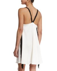 10 Crosby Derek Lam - White Crepe Cami Dress W/fringe - Lyst