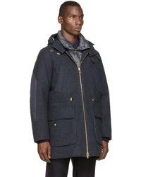 Moncler Gamme Bleu - Blue Navy Down Wool Coat for Men - Lyst
