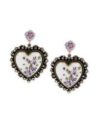 Betsey Johnson - Purple Floral Printed Heart Drop Earrings - Lyst