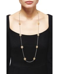 Buccellati - Metallic Long Sautoir Necklace 10 Motifs With Diamonds In Yellow Gold And White Gold - Lyst
