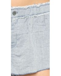 Free People - Blue New Moon Cotton Shorts - Lyst