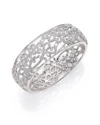 Adriana Orsini - Metallic Garden Gate Pavé Crystal Bangle Bracelet/silvertone - Lyst