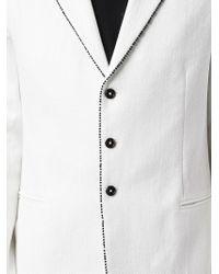 Ann Demeulemeester - White Contrasting Trim Textured Blazer for Men - Lyst