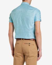 Ted Baker   Blue Linen Shirt for Men   Lyst