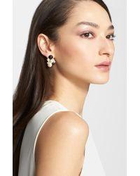 St. John - Metallic Faux Pearl Cluster Earrings - Lyst