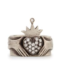 Irit Design | Metallic Modern Winged Claddagh Band Ring With Diamonds | Lyst