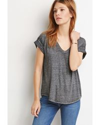 Forever 21 - Gray Contemporary Heathered Box Pleat Tee - Lyst