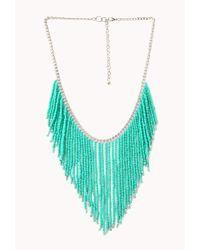 Forever 21   Blue Worldly Beaded Fringe Necklace   Lyst
