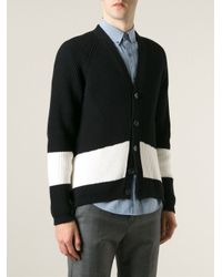 N°21 - Black Contrasting Stripe Ribbed Cardigan for Men - Lyst