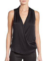 Ramy Brook | Black Meredith Satin Draped Crossover-front Top | Lyst