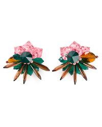 MSGM - Multicolor Flower Earrings - Lyst