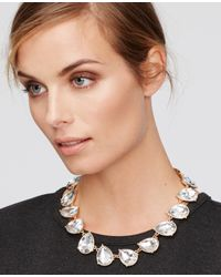 Ann Taylor | Metallic Teardrop Crystal Necklace | Lyst