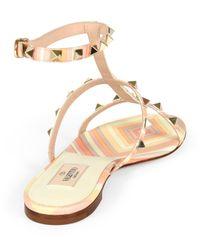 Valentino - Metallic Striped Leather Gladiator Sandals - Lyst