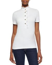Tory Burch | White Lidia Short-sleeve Ruffled Polo | Lyst