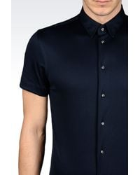 Emporio Armani - Blue Jersey Shirt for Men - Lyst