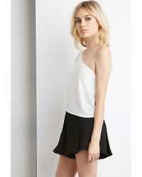 Forever 21 | White Chiffon One-shoulder Top | Lyst