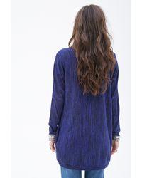 Forever 21 | Blue Marled Knit Dolman-sleeve Cardigan | Lyst